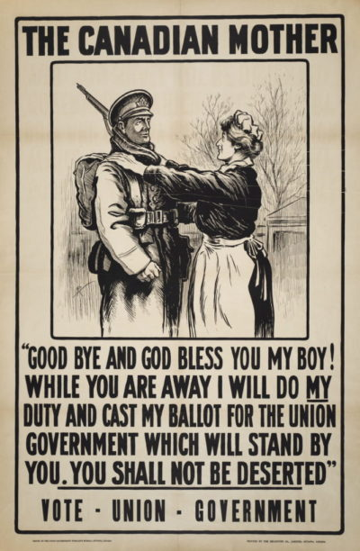Poster calling for canadian mothers to vote during the Great War