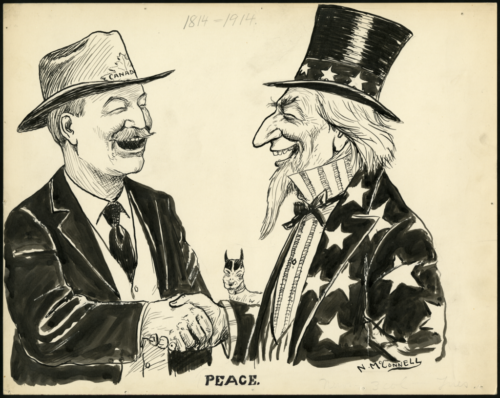 """Johnny Canuck and Uncle Sam shake hands. Johnny Canuck, the personification of Canada, wears a wide-brimmed hat with a maple leaf and """"CANADA"""" on the band. He shakes the hand of Uncle Sam, the personification of the United States. Below them, a caption reads """"PEACE"""" and above is the faint hand-written impression of the years """"1814-1914."""""""