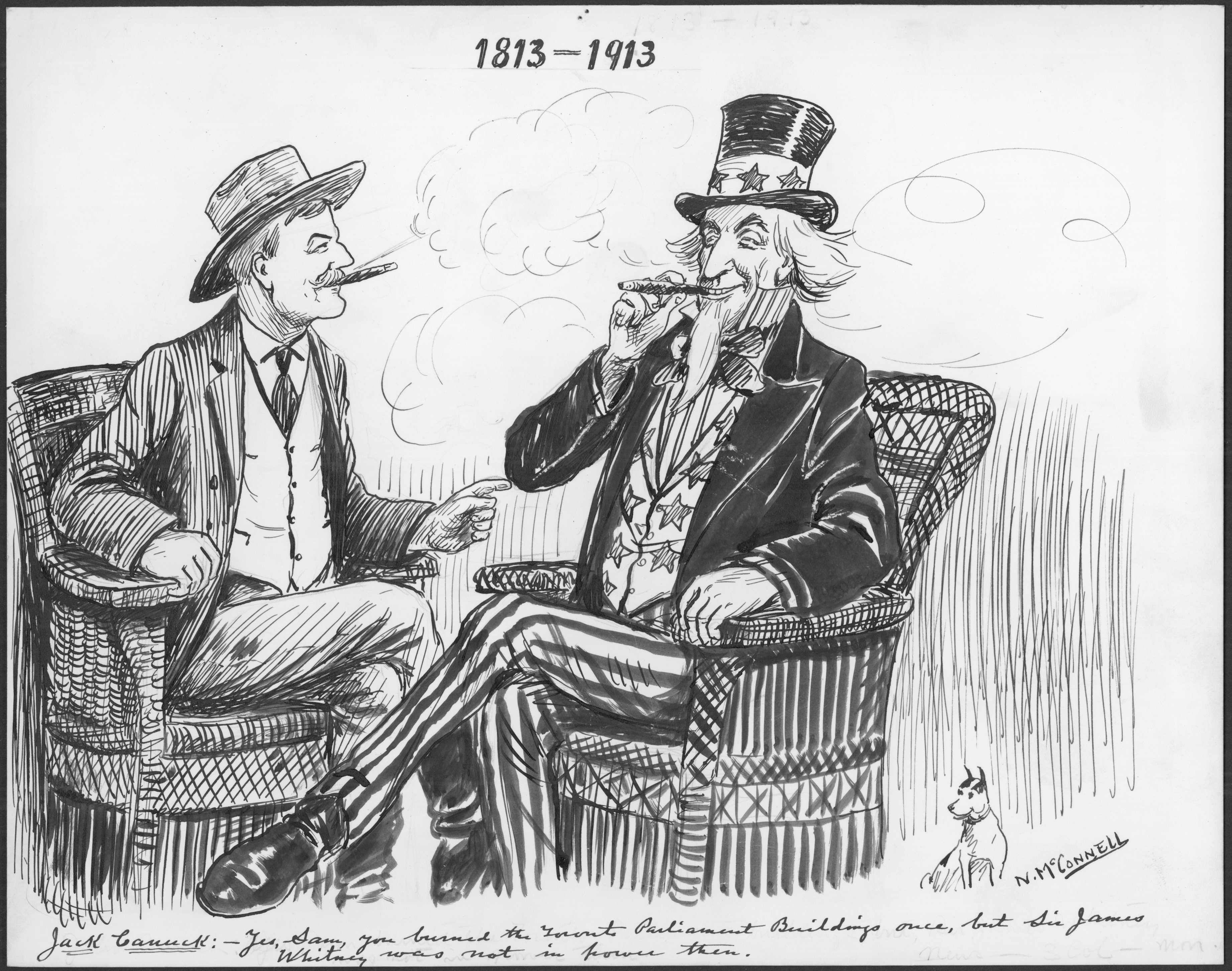 Uncle Sam and Jack Canuck smoke cigars together Johnny, or Jack, Canuck sits with Uncle Sam, the pair smoking cigars, with cordial smiles on their faces. Clouds of smoke billow about their heads. Canuck is dressed in a regular, plain three-piece suit and a wide-brimmed hat. He is leaning forward in his chair, pointing at Uncle Sam. Uncle Sam wears a black coat, a starry waistcoat, long striped pants, and a black tall top hat with stars on the band. He leans back in his chair, relaxed.