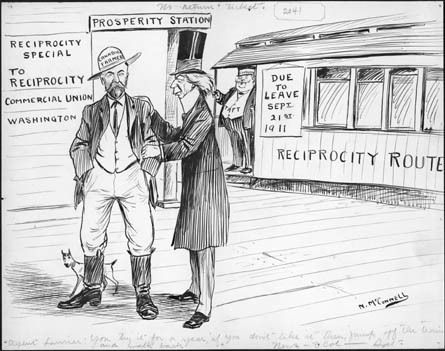 """Cartoon of Laurier and Johnny Canuck in conversation at a railway station In the forefront, on the left half of the image, Laurier is seen in profile facing left, with his right hand on the shoulder of a man and his left hand resting on the man's left forearm. Laurier is wearing a long jacket reaching down to his knee and an exaggeratedly tall top hat. The man next to Laurier is wearing a hat with the label """"CANADIAN FARMER"""" on it. The man's knees are slightly bent and his hands are deep in his trouser pockets. Immediately behind the man's right foot is a small dog. Behind the two men on the left hand side is a railway station building with the title """"PROSPERITY STATION"""". Under this sign and to the leftmost side there are three signs. On the topmost sign is written """"RECIPROCITY SPECIAL"""" and just under it """"TO RECIPROCITY"""". The sign underneath it reads """"COMMERCIAL UNION"""", and underneath it is another sign that reads """"WASHINGTON"""". To the right of the station building there is a train, with an attendant standing at the front of the train facing out to the station, with the word """"TAFT"""" written on the front of his uniform. To his immediate right there is a sign hanging over the train that reads """"DUE TO LEAVE SEPT 21ST 1911"""". Underneath it the words """"RECIPROCITY ROUTE"""" are written on the side of the train. At the immediate bottom of the drawing is a caption written in cursive that reads """"AGENT LAURIER: YOU TRY IT FOR A YEAR, IF YOU DON'T LIKE IT THEN, JUMP OFF THE TRAIN AND WALK BACK"""" NEWTON MCCONNELL. CIRCA 1910.""""."""