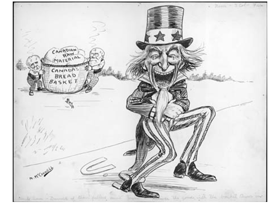 "Uncle Sam: ""Darned if them fellows ain't tryin' to deliver the goods with the basket thrown in too!"""