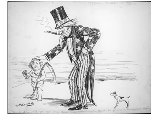 "Uncle Sam: ""If you get me Reciprocity with Canada, you'll be famous in American history."""