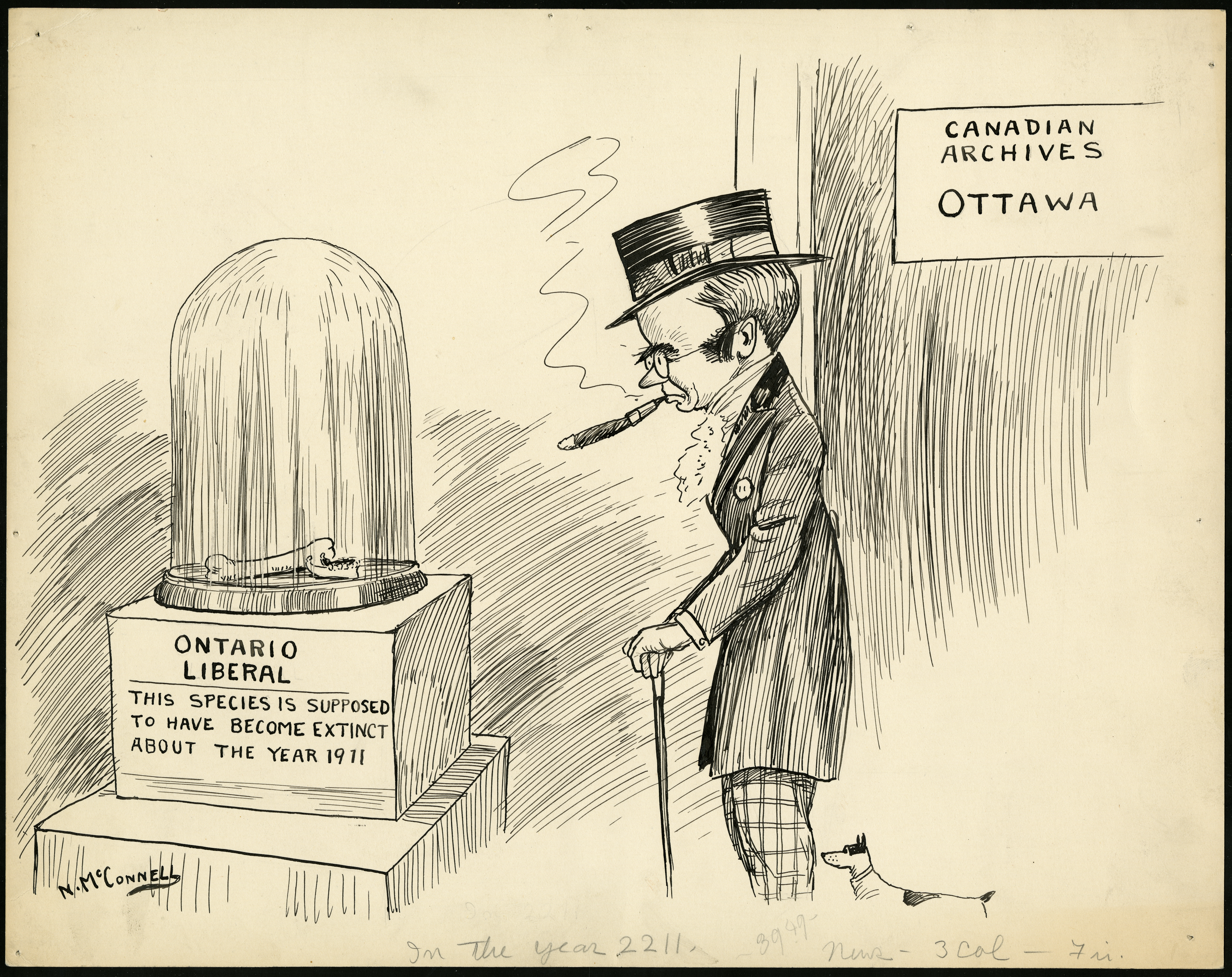 """A man looks at a pile of bones in a display case. In the Canadian Archives in Ottawa, a man wearing a suit, an ascot, and top hat holds a cane and smokes a cigar. He looks onto a glass domed display case with a pair of bones inside. The case is labeled """"ONTARIO LIBERAL"""" THIS SPECIES IS SUPPOSED TO HAVE BECOME EXTINCT ABOUT THE YEAR 1911"""""""
