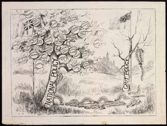 """Cartoon of caterpillars leaving a desiccated tree for a new, fruitful tree to consume In the foreground, a tree labeled """"NATIONAL POLICY"""" bears a pethura of fruit, each labeled with different goods and industries. By this tree flies a flag, most likely the Canadian Red Ensign — the flag representing the Dominion of Canada for much of the 1800s through the early 1900s. In the background is another tree — bare, fruitless and leafless, it is labeled """"GRIT POLICY."""" Behind it flies the United States flag. An army of caterpillars, each labeled """"ANNEXATION,"""" depart a sac labeled """"UNRESTRICTED RECIPROCITY"""" hanging from the desiccated tree. The caterpillars march toward the fruitful National Policy tree, climbing up its trunk, intending to consume it."""