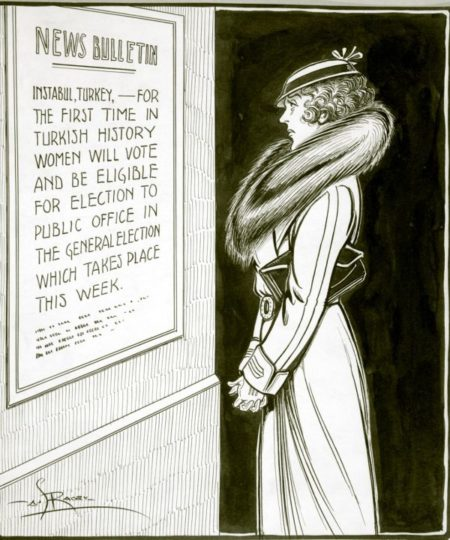 Woman frowns while reading a poster