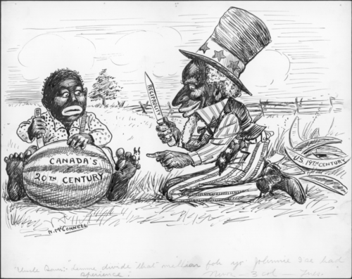 In blackface, Uncle Sam guides Canada in planning the 20th century