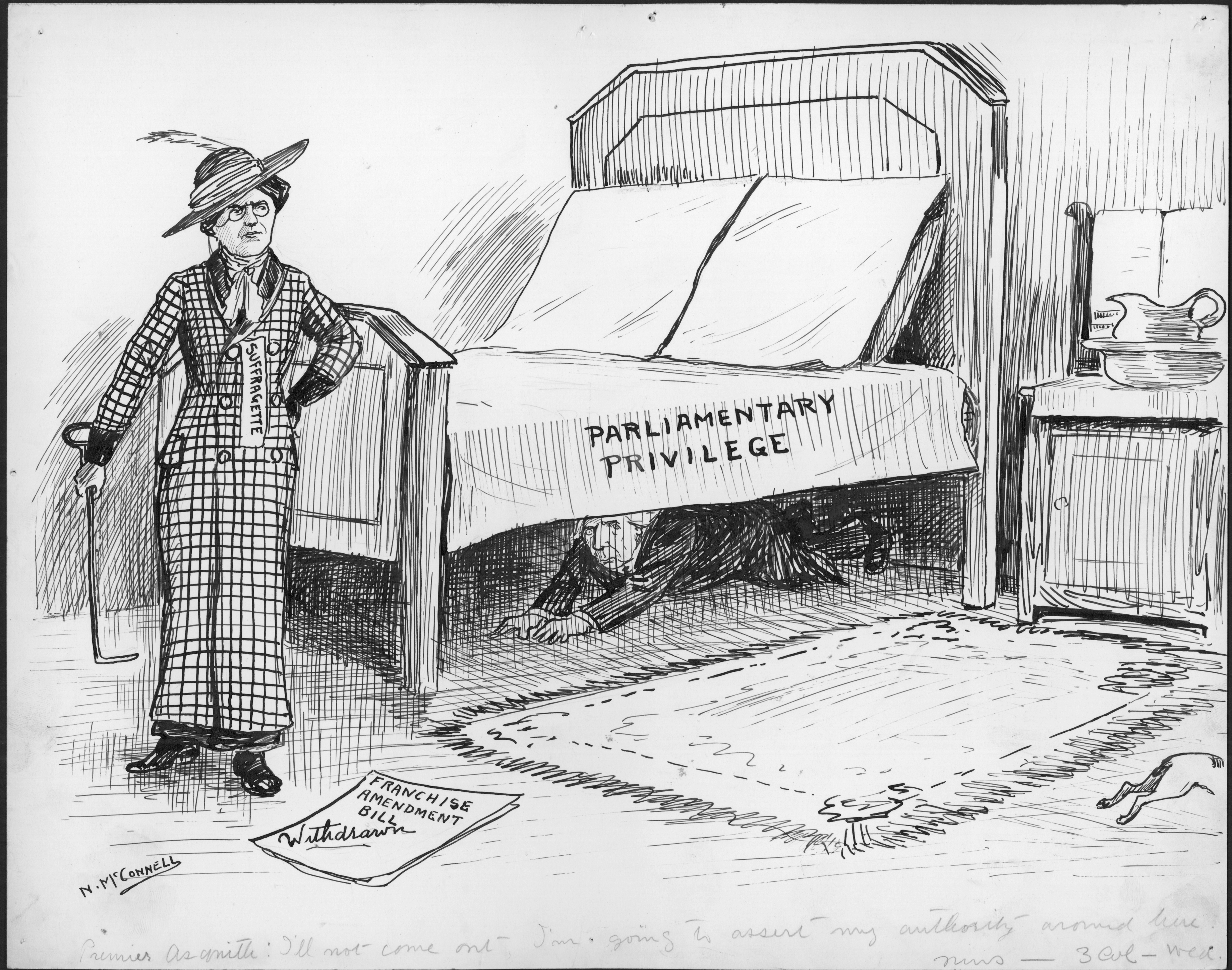 The British Premier hides under a bed from a suffragette